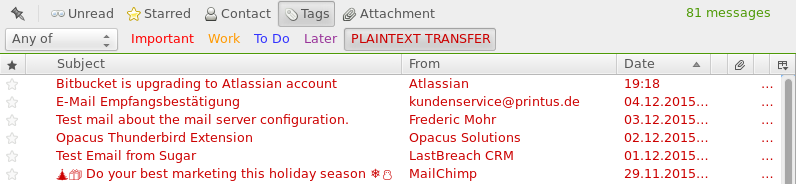 Tagging emails sent in plain text with Thunderbird | LastBreach